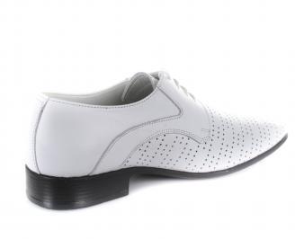 Мъжки официални обувки естествена кожа бели 3