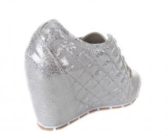 Дамски обувки на платформа сребристи 3