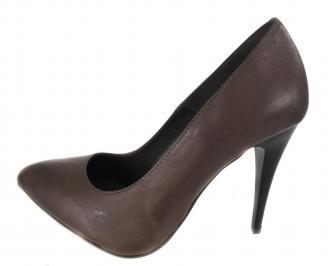 Дамски елегантни обувки естествена кожа кафяви