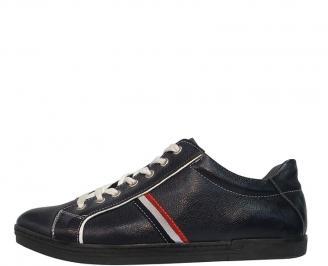 Мъжки спортни обувки от естествена кожа синьо