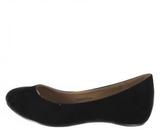 Ежедневни дамски обувки еко набук/камъни черни