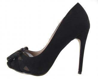 Дамски елегантни обувки еко кожа/набук черни