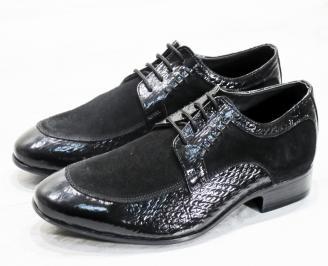 Мъжки обувки естествена кожа с лаково покритие черни