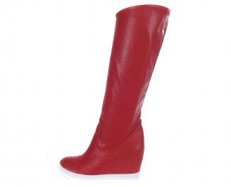 Дамски летни ботуши еко кожа червени