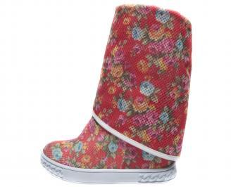 Дамски летни боти на цветя текстил