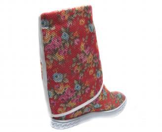 Дамски летни боти на цветя текстил 3