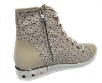Дамски обувки бежови естествена кожа 3