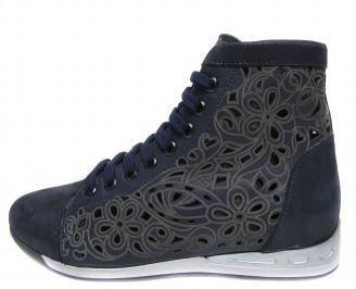 Дамски обувки тъмно сини естествена кожа
