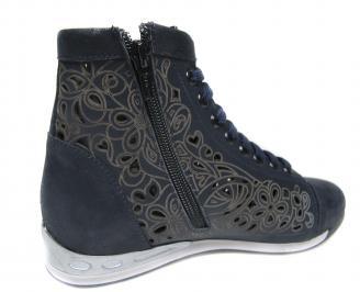 Дамски обувки тъмно сини естествена кожа 3