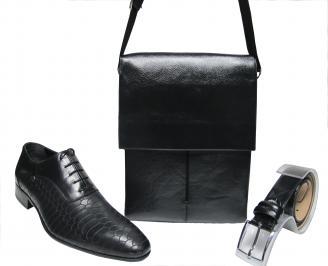 Комплект мъжки обувки,чанта и колан черен естествена кожа