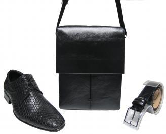 Комплект мъжки обувки,чанта и коллан черен естествена кожа