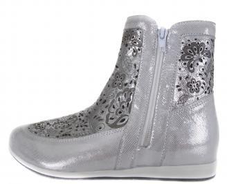 Дамски равни обувки сребристи естествена кожа