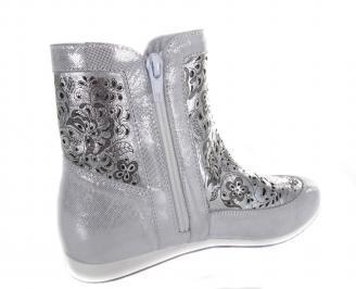 Дамски равни обувки сребристи естествена кожа 3