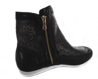 Дамски равни обувки черни естествена кожа 3