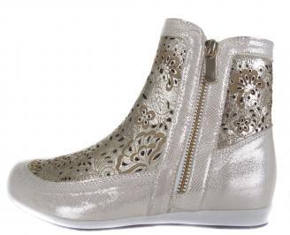 Дамски равни обувки златисти естествена кожа