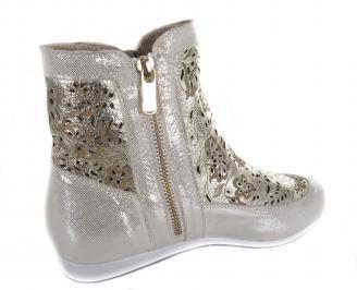 Дамски равни обувки златисти естествена кожа 3