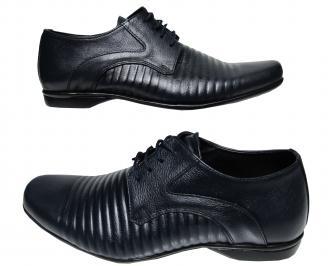 Мъжки официални обувки тъмно сини естествена кожа