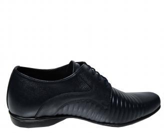 Мъжки официални обувки тъмно сини естествена кожа 3