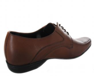 Мъжки официални обувки кафяви естествена кожа 3