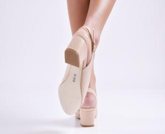 Дамски сандали на ток бежови еко кожа 3