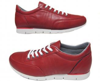Мъжки спортни обувки червени естествена кожа