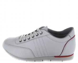 Мъжки спортни обувки бели естествена кожа