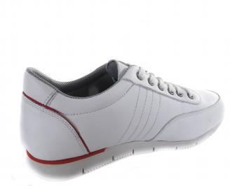 Мъжки спортни обувки бели естествена кожа 3