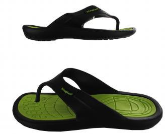Мъжки силиконови джапанки черно/зелено