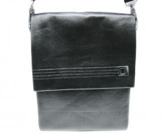 Мъжка чанта естествена кожа черна