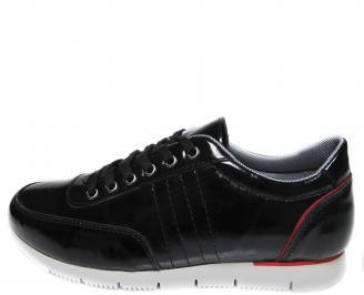 Мъжки спортни обувки черни естествена кожа/лак