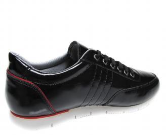 Мъжки спортни обувки черни естествена кожа/лак 3