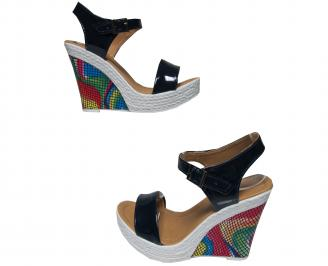 Дамски сандали на платформа еко кожа/лак тъмно сини