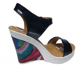 Дамски сандали на платформа еко кожа/лак тъмно сини 3