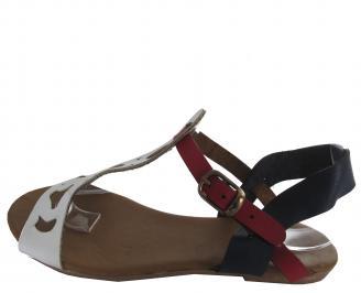 Дамски сандали еко кожа в бяло/синьо/червено