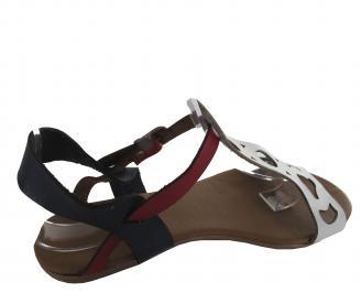 Дамски сандали еко кожа в бяло/синьо/червено 3