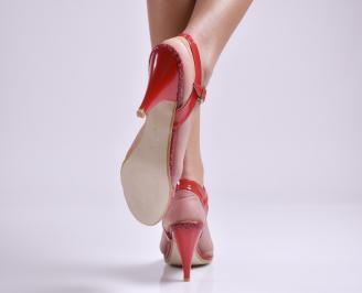 Дамски сандали на ток еко кожа/лак червени 3