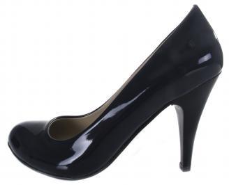 Дамски обувки на ток еко кожа/лак тъмно сини