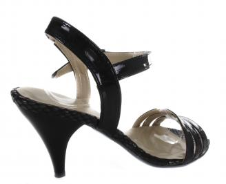 Дамски сандали на ток еко кожа/лак черни 3
