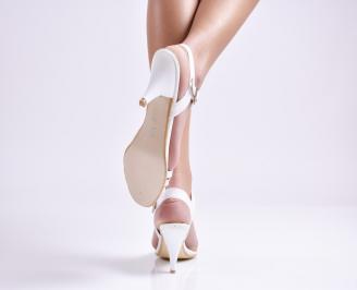 Дамски сандали на ток еко кожа/лак бели 3