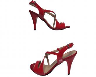 Дамски елегантни сандали на ток еко кожа/лак червени