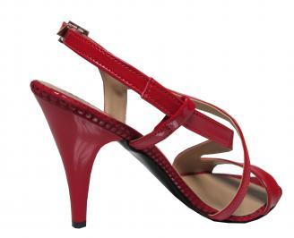 Дамски елегантни сандали на ток еко кожа/лак червени 3
