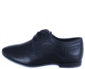 Мъжки официални обувки естествена кожа тъмно сини