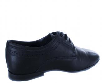 Мъжки официални обувки естествена кожа тъмно сини 3