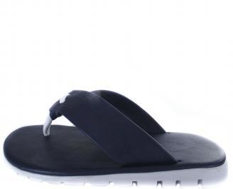Мъжки чехли естествена  кожа тъмно сини