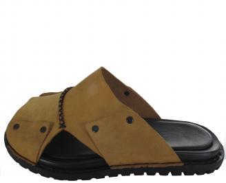 Мъжки чехли естествена кожа камел