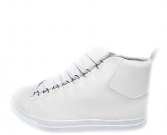 Мъжки спортни обувки еко кожа бели
