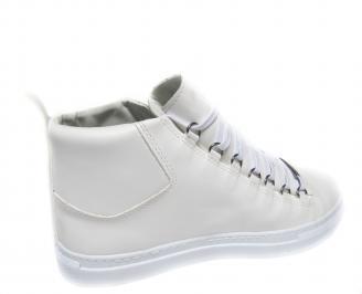 Мъжки спортни обувки еко кожа бели 3